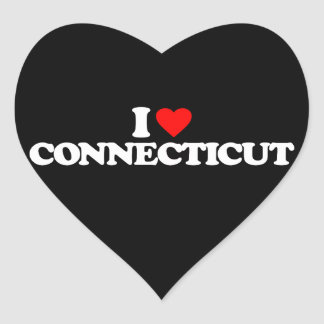 I LOVE CONNECTICUT HEART STICKERS