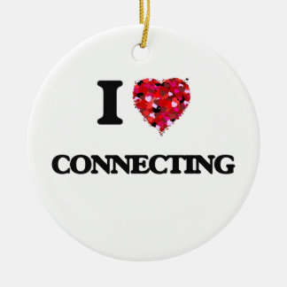 I love Connecting Double-Sided Ceramic Round Christmas Ornament