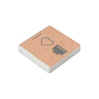 I Love Connector Chips Stone Magnet