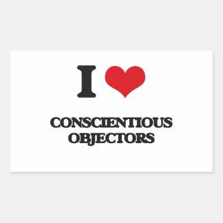 I love Conscientious Objectors Rectangular Sticker