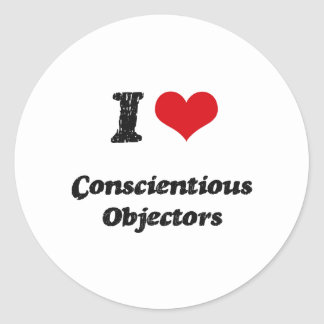 I love Conscientious Objectors Round Sticker