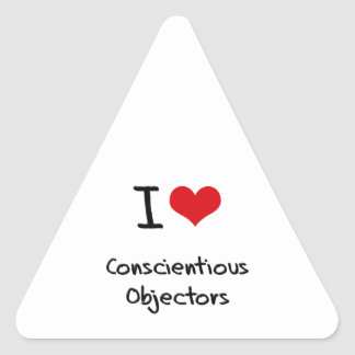 I love Conscientious Objectors Triangle Sticker