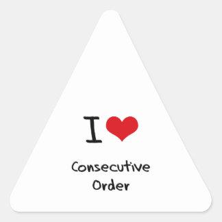 I love Consecutive Order Triangle Sticker