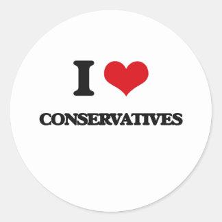 I love Conservatives Round Sticker