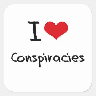 I love Conspiracies Square Stickers