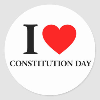 I Love Constitution Day Classic Round Sticker