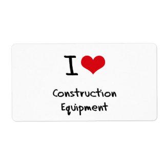 I love Construction Equipment Shipping Label