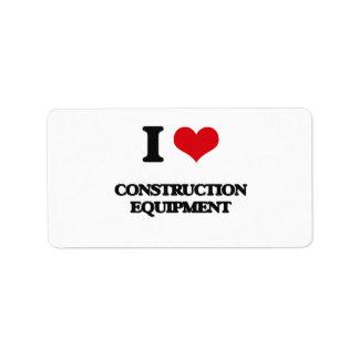 I love Construction Equipment Address Label