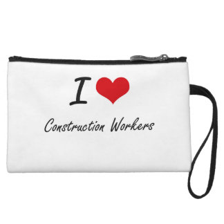 I love Construction Workers Artistic Design Wristlet Clutches
