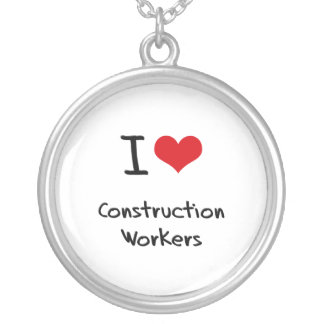 I love Construction Workers Personalized Necklace