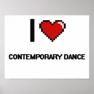 I Love Contemporary Dance Digital Retro Design Poster