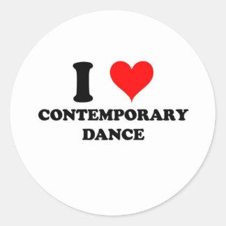 I Love Contemporary Dance Round Stickers