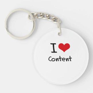 I love Content Single-Sided Round Acrylic Keychain