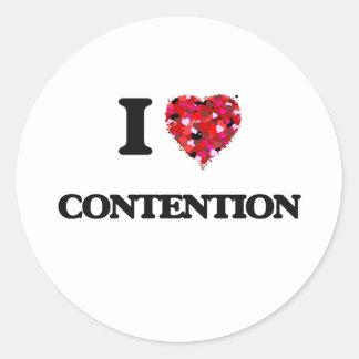 I Love Contention Classic Round Sticker