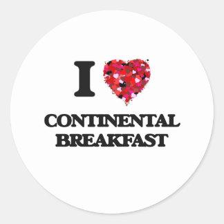 I love Continental Breakfast Classic Round Sticker