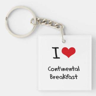 I love Continental Breakfast Single-Sided Square Acrylic Keychain