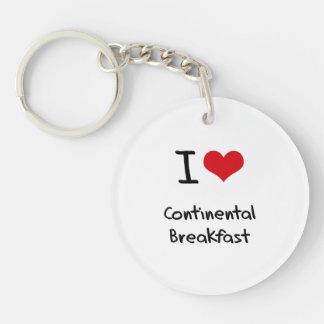 I love Continental Breakfast Single-Sided Round Acrylic Keychain