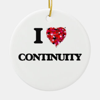 I love Continuity Double-Sided Ceramic Round Christmas Ornament
