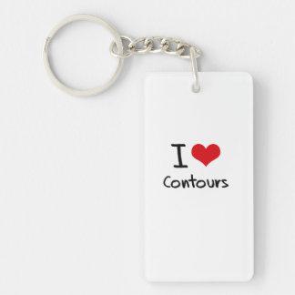 I love Contours Single-Sided Rectangular Acrylic Keychain