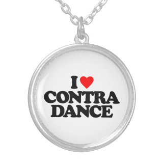 I LOVE CONTRA DANCE ROUND PENDANT NECKLACE