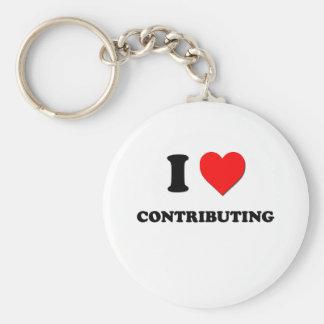 I love Contributing Basic Round Button Keychain