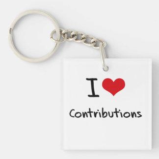 I love Contributions Single-Sided Square Acrylic Keychain