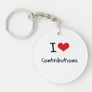 I love Contributions Single-Sided Round Acrylic Keychain