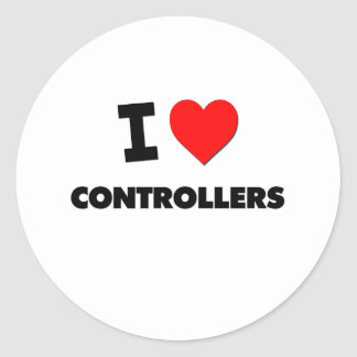 I Love Controllers Round Stickers