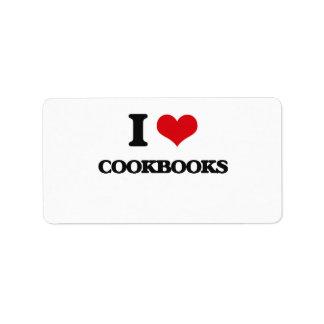 I love Cookbooks Address Label