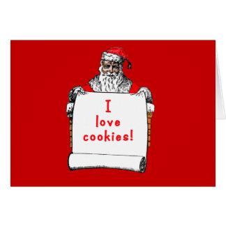 I Love Cookies Santa Claus Card