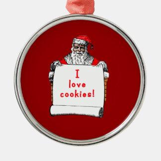 I Love Cookies Santa Claus Round Metal Christmas Ornament
