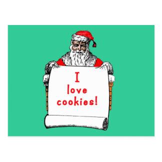 I Love Cookies Santa Claus Postcard