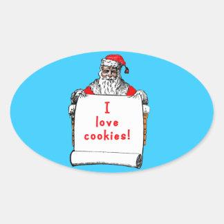 I Love Cookies Santa Claus Sticker