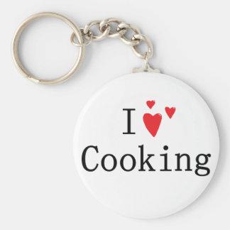 I Love Cooking Basic Round Button Keychain
