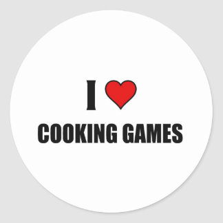 I love cooking games classic round sticker