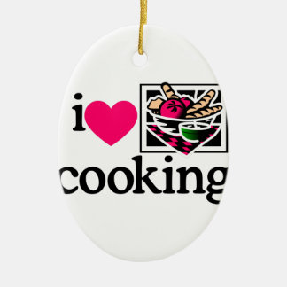 I Love Cooking/Logo Double-Sided Oval Ceramic Christmas Ornament