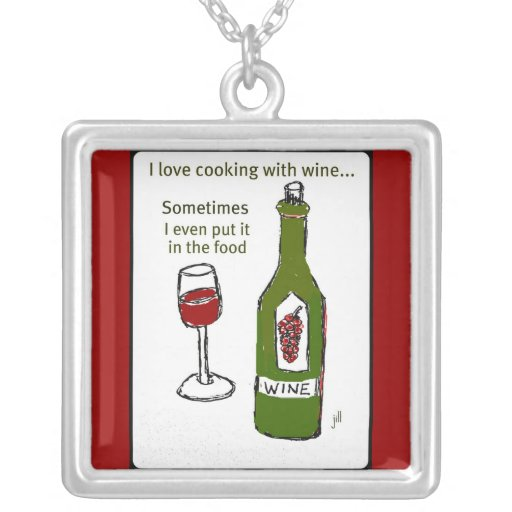 """""""I LOVE COOKING WITH WINE"""" RED WINE PRINT PERSONALIZED NECKLACE"""