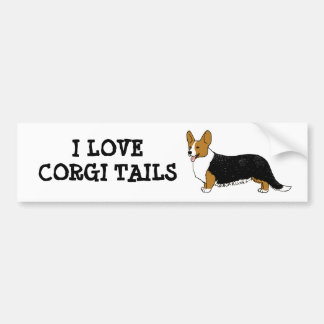 I LOVE CORGI TAILS BUMPER STICKER