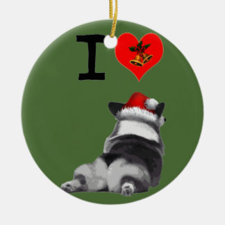 I Love Corgis Ceramic Ornament