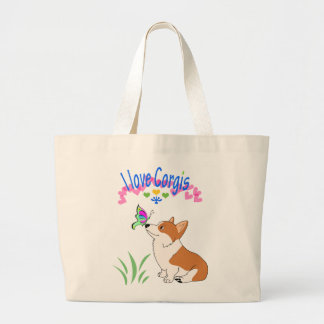 I love Corgis with Butterfly Large Tote Bag