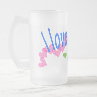 I love Corgis with Hearts Frosted Glass Beer Mug