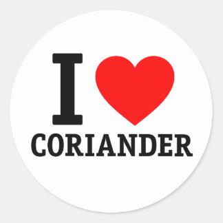 I Love Coriander Round Stickers