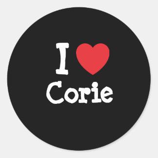 I love Corie heart T-Shirt Classic Round Sticker