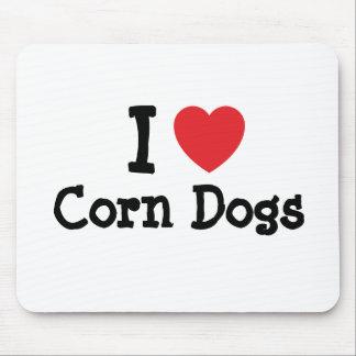 I love Corn Dogs heart T-Shirt Mouse Mat