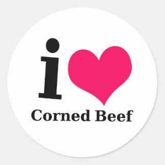 I love Corned Beef Classic Round Sticker