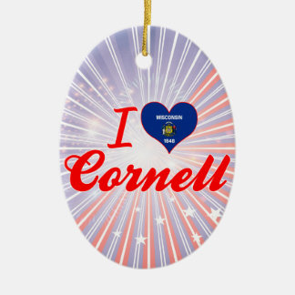 I Love Cornell, Wisconsin Double-Sided Oval Ceramic Christmas Ornament