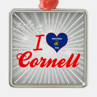 I Love Cornell, Wisconsin Square Metal Christmas Ornament