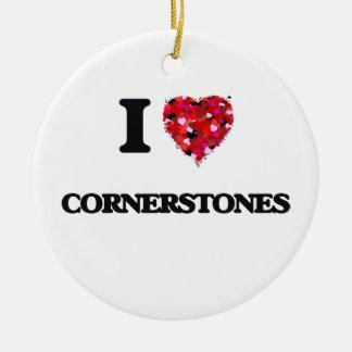 I love Cornerstones Double-Sided Ceramic Round Christmas Ornament