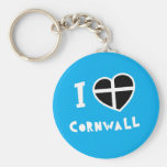 I love Cornwall Basic Round Button Keychain