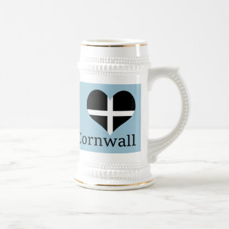 I Love Cornwall Kernow St Piran Flag Heart Design Beer Stein